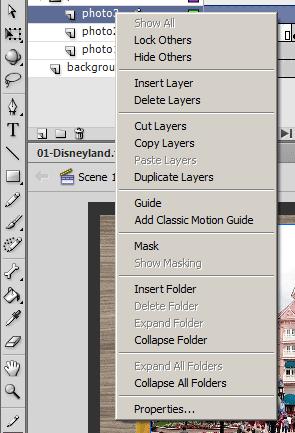 Вставка, копирование, удаление, дублирование слоев в панели Timeline Flash CS6