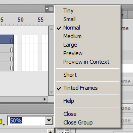 Меню с настройками панели Timeline Flash CS6