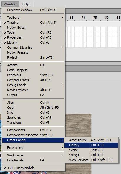 Как открыть панель во Flash CS6