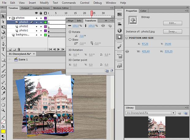 Как повернуть фотографию во Flash CS6