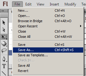 File Save As Flash CS6