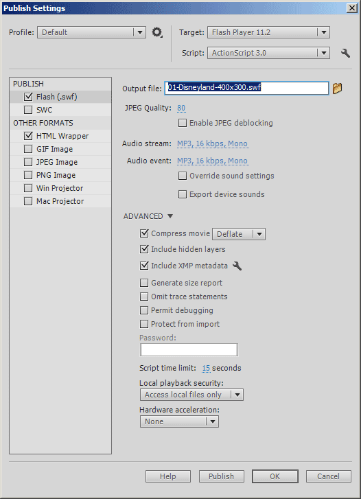 Publish Settings Flash CS6